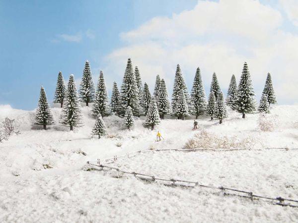 Noch - 26828 - Schneetannen (5-14 cm hoch / 25 Stück)