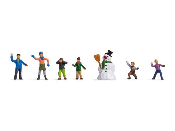Noch - 36821 - Kinder im Schnee (6 Figuren & Schneemann)